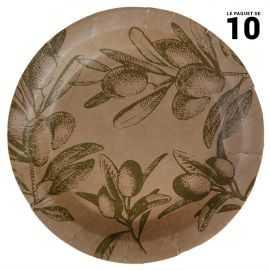10 Assiettes kraft 22 cm brin d'olivier provençal