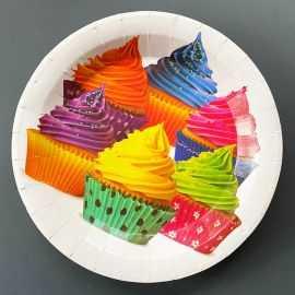 10 Assiettes carton 22 cm Décor cupcakes