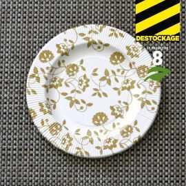 8 Assiettes carton or 20cm. Biodégradables. et compostables