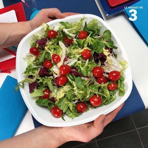 3 Saladiers blancs 3 litres. Lavables - Réutilisables