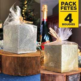 Pack 4 bougies cadeau de table pailletées or et argent