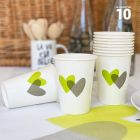 10 Gobelets carton 25 cl décor coeurs verts