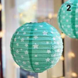 2 lanternes en papier décor vert 20 cm