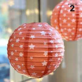 2 Lanternes en papier décor corail 20 cm