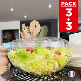 3 Saladiers + couvercles 4,5 litres. Recyclables - Réutilisables