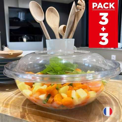 3 Saladiers + couvercles 2,25 litres. Recyclables - Réutilisables