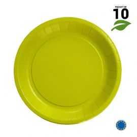 10 Assiettes carton vert anis Biodégradables 22 cm