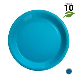 10 Assiettes carton turquoise Biodégradables 22 cm