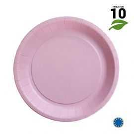 10 Assiettes carton rose Biodégradables 22 cm
