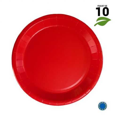 10 Assiettes carton rouge biodégradables 22 cm