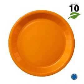 10 Assiettes carton mandarine Biodégradables 22 cm