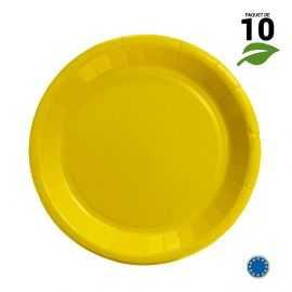 10 Assiettes carton jaune Biodégradables 22 cm