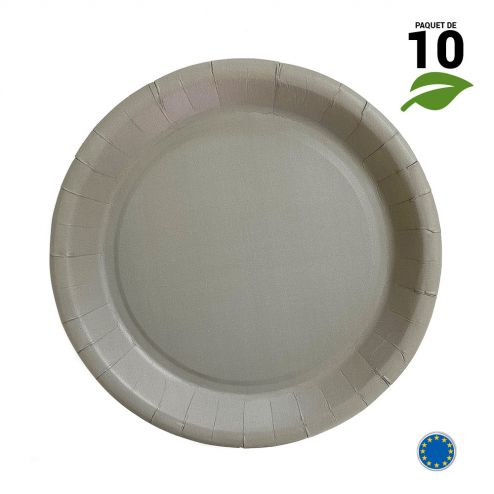 10 Assiettes carton gris Biodégradables 22 cm