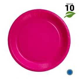 10 Assiettes carton fuchsia biodégradables 22 cm