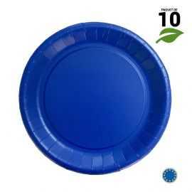 10 Assiettes carton bleu marine biodégradables 22 cm