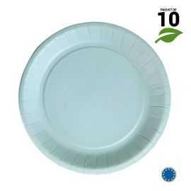 10 Assiettes carton bleu pastel biodégradables 22cm