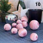 10 Boules en fil scintillant rose 3 tailles assorties