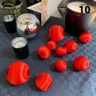 10 Boules en fil scintillant rouge 3 tailles assorties