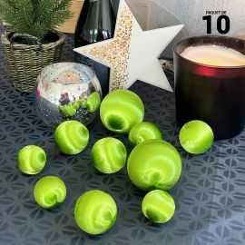 10 Boules en fil scintillant vert 3 tailles assorties