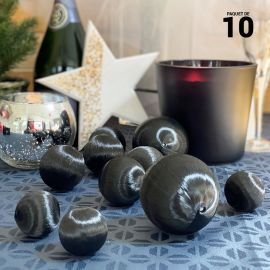 10 Boules en fil scintillant noir 3 tailles assorties