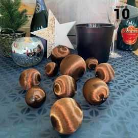 10 Boules en fil scintillant chocolat 3 tailles assorties