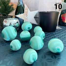 10 Boules en fil scintillant menthe 3 tailles assorties