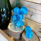 12 Boules en fil scintillant turquoise 3 cm