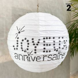 2 lanternes anniversaire blanches 20 cm.