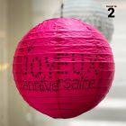 2 lanternes anniversaire fuchsia 20 cm.