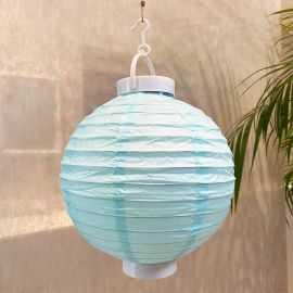 Lampion lumineux bleu clair 20 cm.