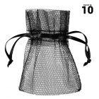 10 Sachets en tulle avec ruban noir