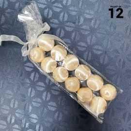 12 Boules en fil scintillant ivoire 3 cm