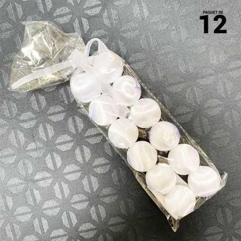 12 Boules en fil scintillant blanches 3 cm