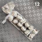 12 Boules en fil scintillant argent 3 cm
