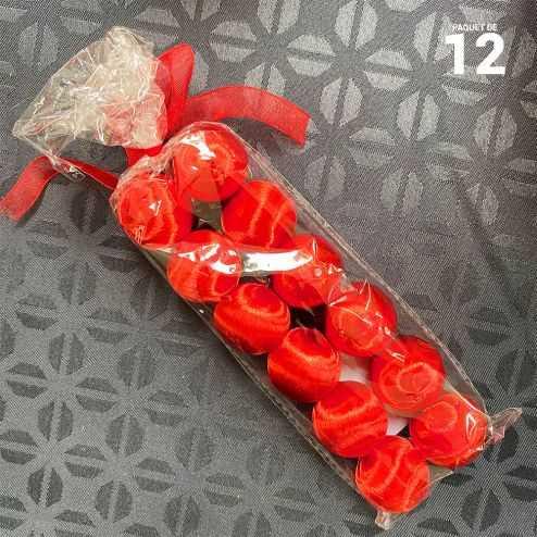 12 Boules en fil scintillant rouge 3 cm