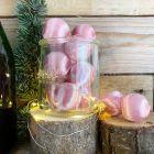 12 Boules en fil scintillant rose 3 cm