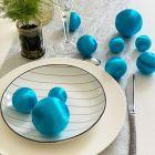 10 Boules en fil scintillant turquoise 3 tailles assorties