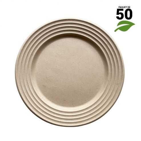 Assiettes biodégradables design écru 23 cm. Par 50