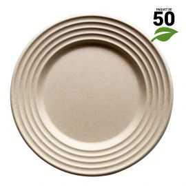 Assiettes biodégradables design écru 26 cm. Par 50