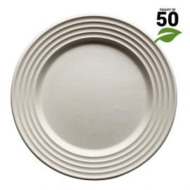 50 Assiettes 100% fibres design blanc 26 cm
