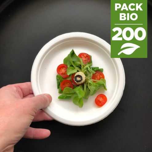 Pack 200 Assiettes rondes 17cm Biodégradables et compostables