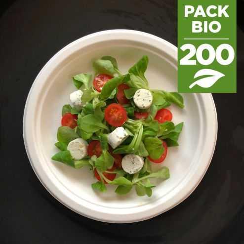 Pack 200 Assiettes rondes 23cm Biodégradables et compostables