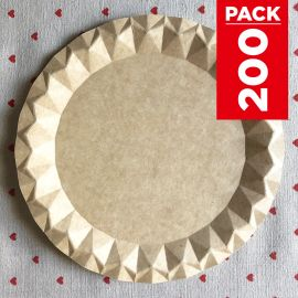 Pack 200 Assiettes carton kraft design 23cm