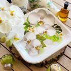 Pack 100 Assiettes et gobelets décor orchidée