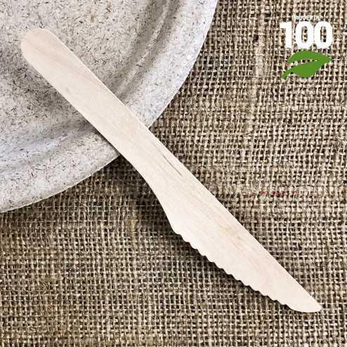 Couteau bois 17cm biodégradable Par 100.
