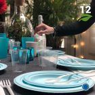 Assiette Bio bleu macaron 18 cm. Home compost. Fibres végétales. Par 12