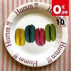 Assiettes carton décor macaron 22 cm