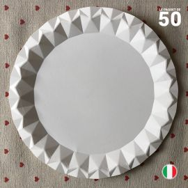 Assiette carton blanc design 23 cm. Par 50