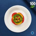 Assiettes biodégradables rondes 18 cm. Par 100.