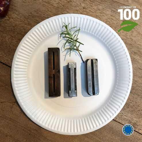Assiettes biodégradables rondes 23 cm. Par 100.